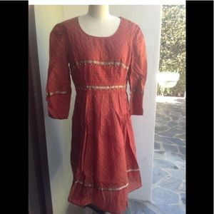 Vintage 80's Indian silk dress with bells medium